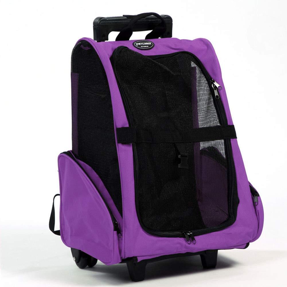 Purple GHH Pet Travel Bag Pets Trolley Carrier Pet Carrier Backpack Travel Pet Bag Strollers