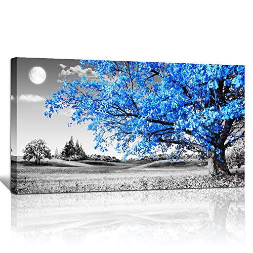 wall art for living room Simple Life Blue moon tree landscape Abstract painting office Wall Decor 20 x 40 single Pieces Canvas Prints Ready to Hang for Home Decoration Black and white Works of art