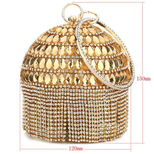 Wallet Clutch Evening Rhinestones Gold Purse Ball Women's Crystal Shape Hand with Party Tassels Bags Wedding WZxna