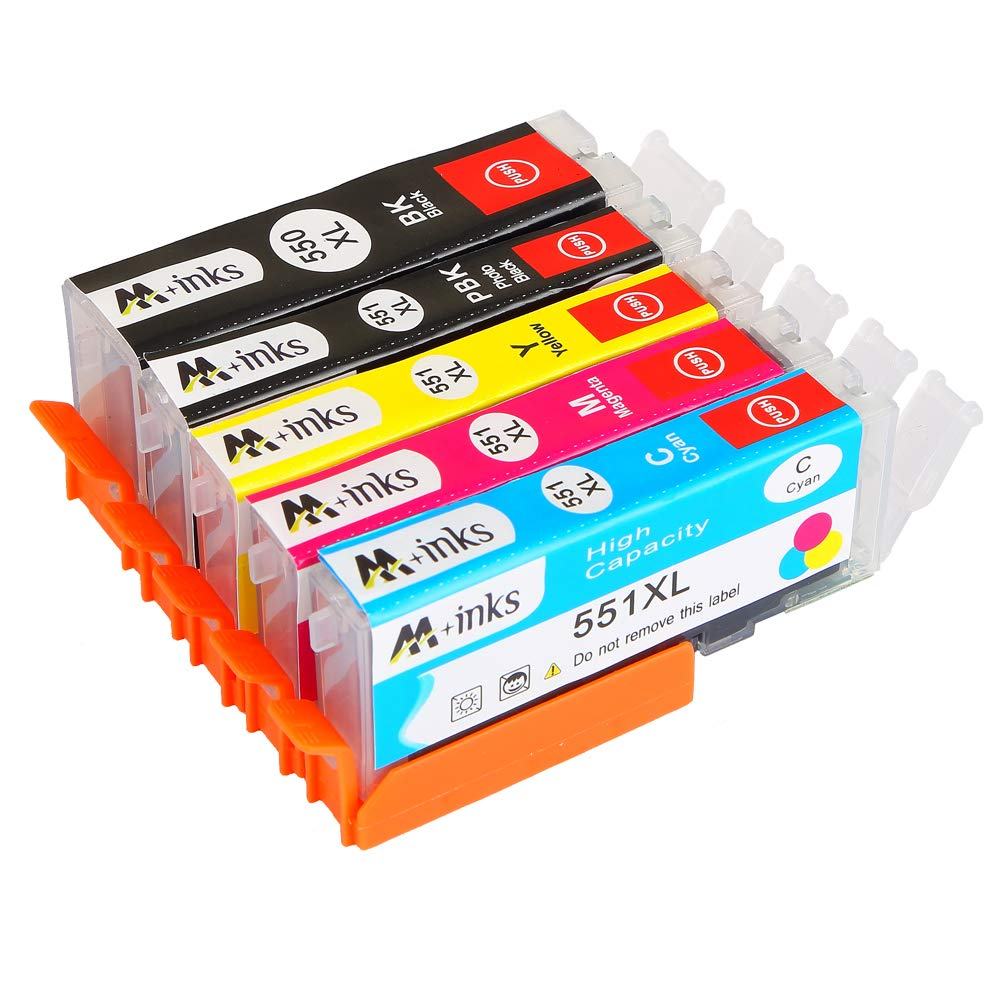 Ink Cartridges (Pack of 5) Replace CLI-551/PGI-551 with Chip 1x ...