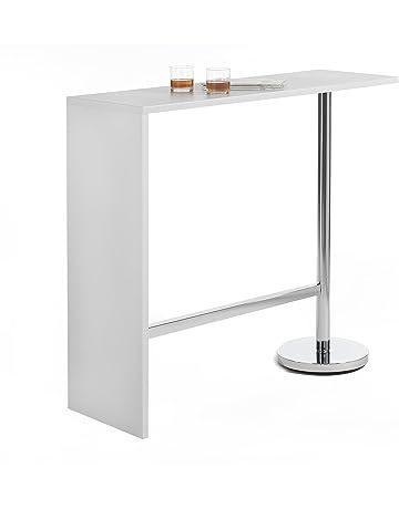 40118067b02f0b IDIMEX Table Haute de Bar Ricardo Mange-Debout comptoir piètement métal  chromé, Plateau en