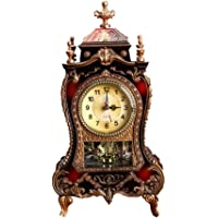 IMIKEYA Mantel Clock Battery Operated Archaistic Decorative Table Clock Vintage Chiming Clock Desktop Clock Musical Time…