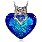 """J.NINA """"Owl of Minerva"""" Collana Donna Ciondolo con Forma Cuore Bermuda Blue realizzato con cristalli Swarovski, Migliore Regalo per Donna e Ragazze"""