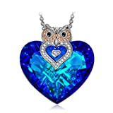 "Amazon Price History for:J.NINA ""Owl of Minerva"" Bermuda Blue Heart Pendant Necklace Made With Swarovski Crystals, Charming Jewelry Gift for Her"