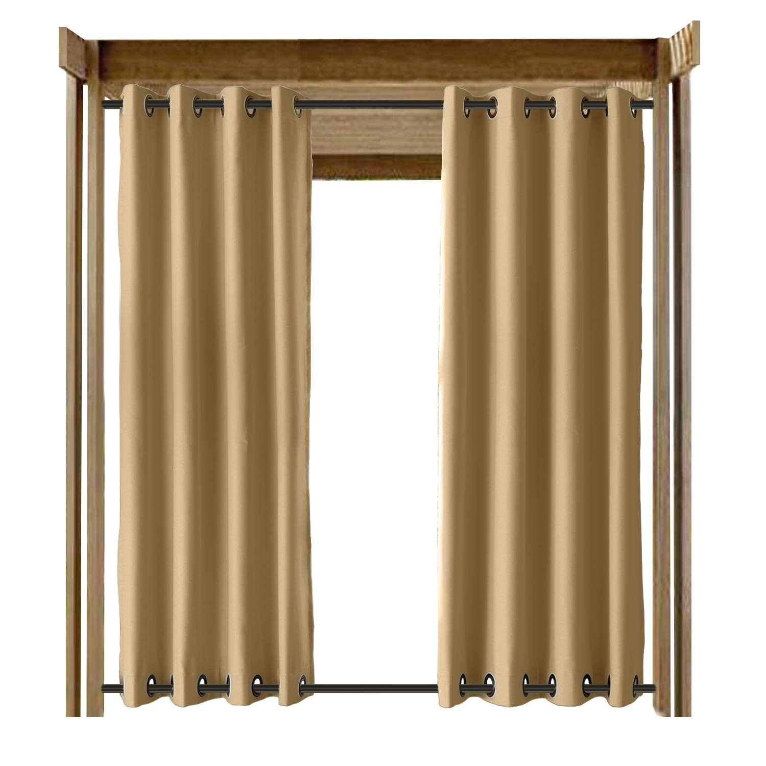 CosyPages Summer Outdoor Curtains for Front Porch Pergola Cabana Covered Patio Gazebo Dock Beach Home Noise Reducing Heat Insulated Grommet at Top and Bottom Rose 150'' W x 96'' L (1 Panel) Wheat