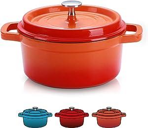 SULIVES Enameled Cast Iron Dutch Oven Bread Baking Pot with Lid,Orange,5qt