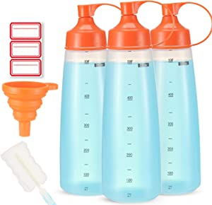 Condiment Squeeze Bottle Wide Mouth, Ondiomn 3 Pack 550ml Empty Reusable Squeeze Bottles for Honey,Batter,Catsup,Onion,Resin,Baking,Expoxy,Relish, BPA Free-Food Grade