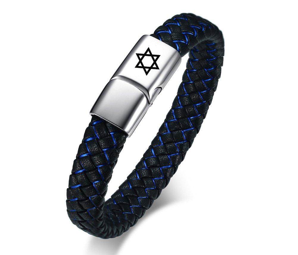 MPRAINBOW MP Men's Stainless Steel Genuine Leather Star of David Cuff Bracelet Bangle Black Blue,21cm