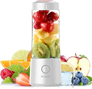 [2021 Newly Upgraded Version]Hotsch Portable Blender, 13.5 Oz Personal Size Blender, Juicer Cup for Juice, Crushed Ice, Smoothies and Shakes, 4000mAh USB Rechargeable with Six Blades, Mini Blender for Sports, Office, Travel, Gym and Outdoors(White)