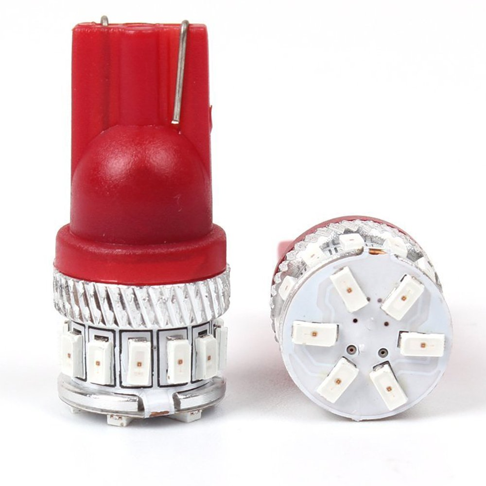 4-Pack 194 168 921 5th Generation 240Lums Red LED Light 12V-24V,AMAZENAR Car Interior Exterior T10 18SMD 3014 Chips Replacement For W5W 2825 Map Dome Courtesy License Plate Dashboard Side Marker Light