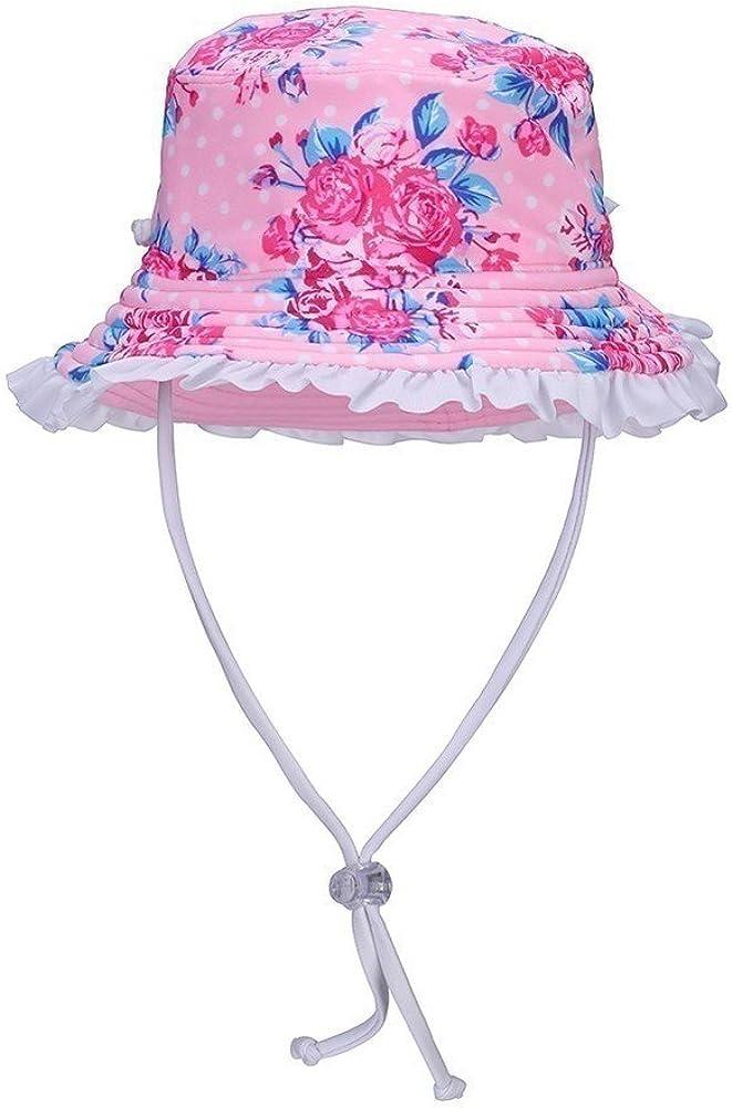 Sun Emporium Girls Pink Vintage Rose Adjustable Strap Wide Brim Sun Hat XS-M