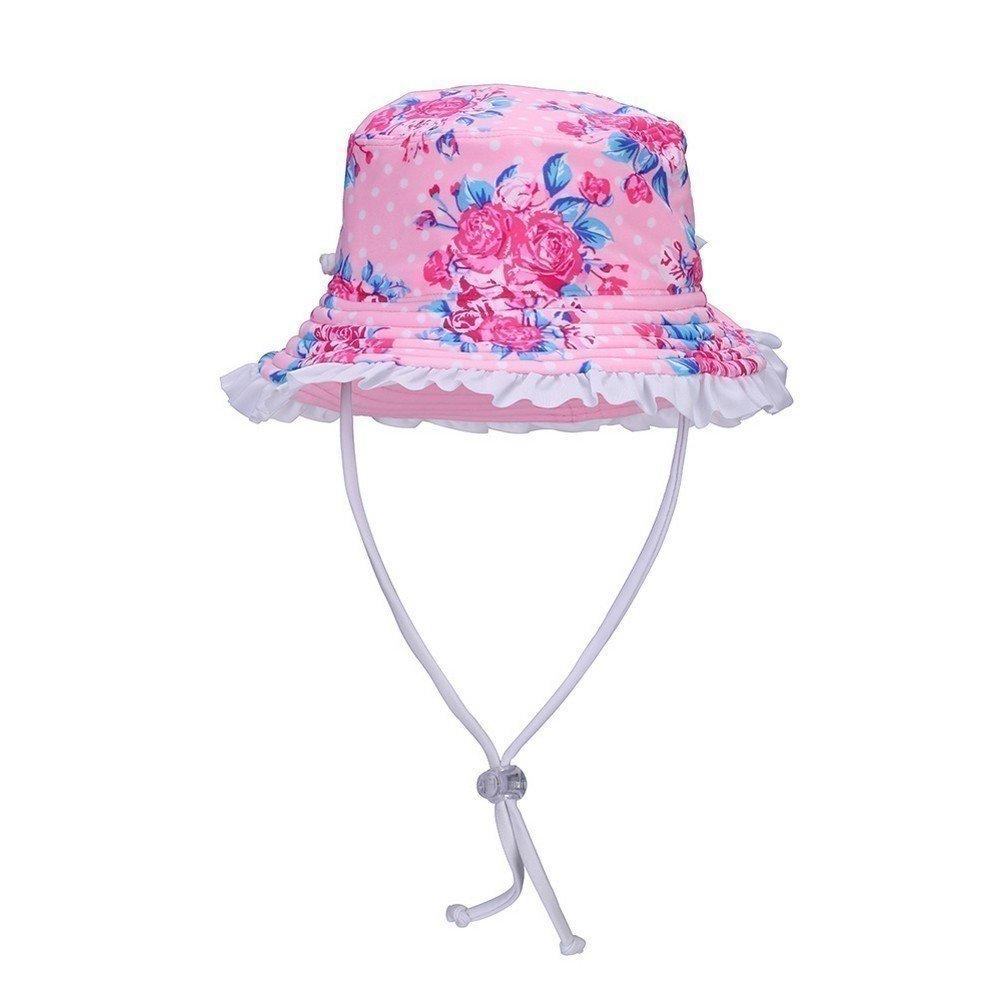 Sun Emporium Girls Pink Vintage Rose Adjustable Strap Wide Brim Sun Hat M