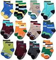 ShoppeWatch 12 Pairs Baby Toddler Socks with Grips Anti-Slip Non-Skid Bottoms For Kids Infant Babies Boys 2T a