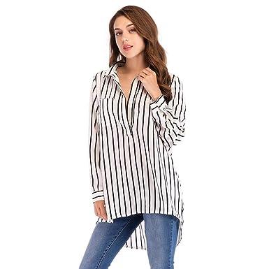 64127eabf7897 TIFIY Women s Ladies Fashion Plus Size Striped Long Shirt V-Neck Tops Long  Sleeve