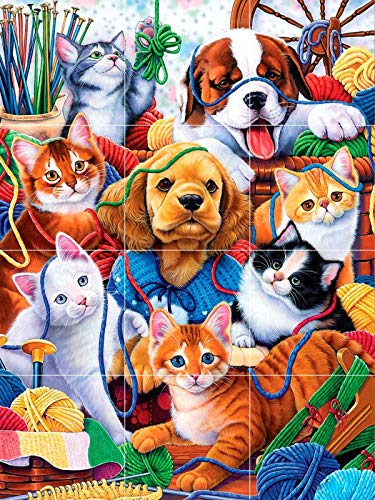 (Funny Dogs Puppies Cats Kittens Pets Friends Cute Fun Tile Mural backsplash 24x18)