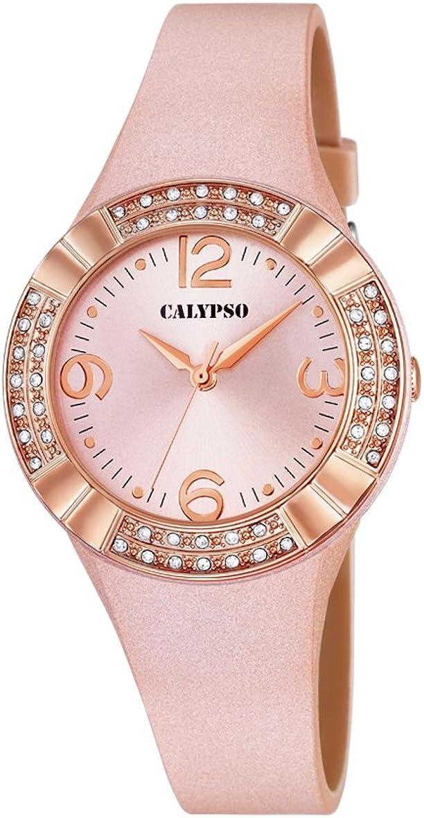 Reloj analógico Calypso para Mujer con Pantalla Oro Rosa y Correa de Piel Oro Rosa (Mecanismo de Cuarzo).
