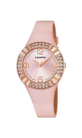 Reloj analógico Calypso para Mujer con Pantalla Oro Rosa y Correa de Piel Oro Rosa (Mecanismo de Cuarzo).: Amazon.es: Relojes