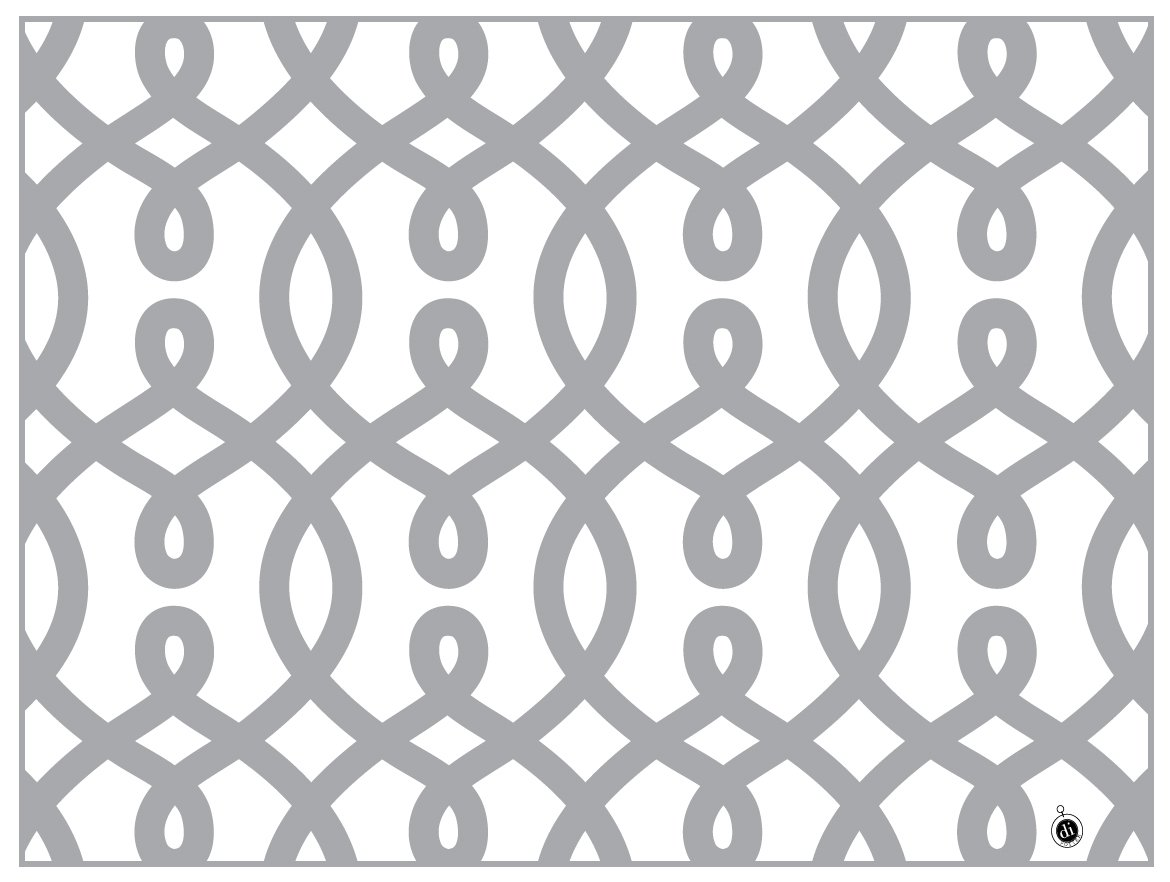 di Potter CH116 Vienna Pattern Reversible Paper Placemat, Metallic Silver, 12 x 16-1/4 (Pack of 24)