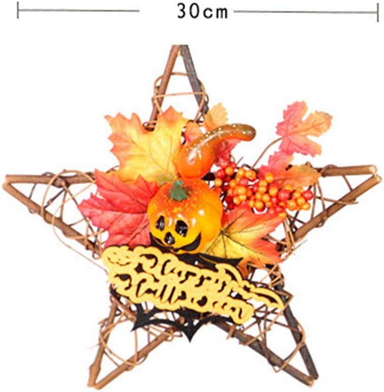 Amosfun Light Up Door Wreath Wood Star Wall Ornament for Home Halloween Autumn Harvest Decoration with Pumpkin Maple Leaf Pattern Without Buttery