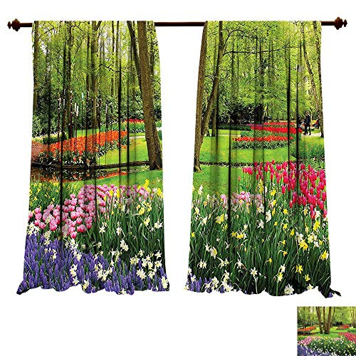Garden Block Rose China (fengruiyanjing-Home Thermal Insulated Grommet Nature Huge Garden with Flowers Grass Trees Roses Tulips Little Ponds and Leaves Art Multicolor Blackout Curtains for Bedroom (W72 x L72 -Inch 2 Panels))