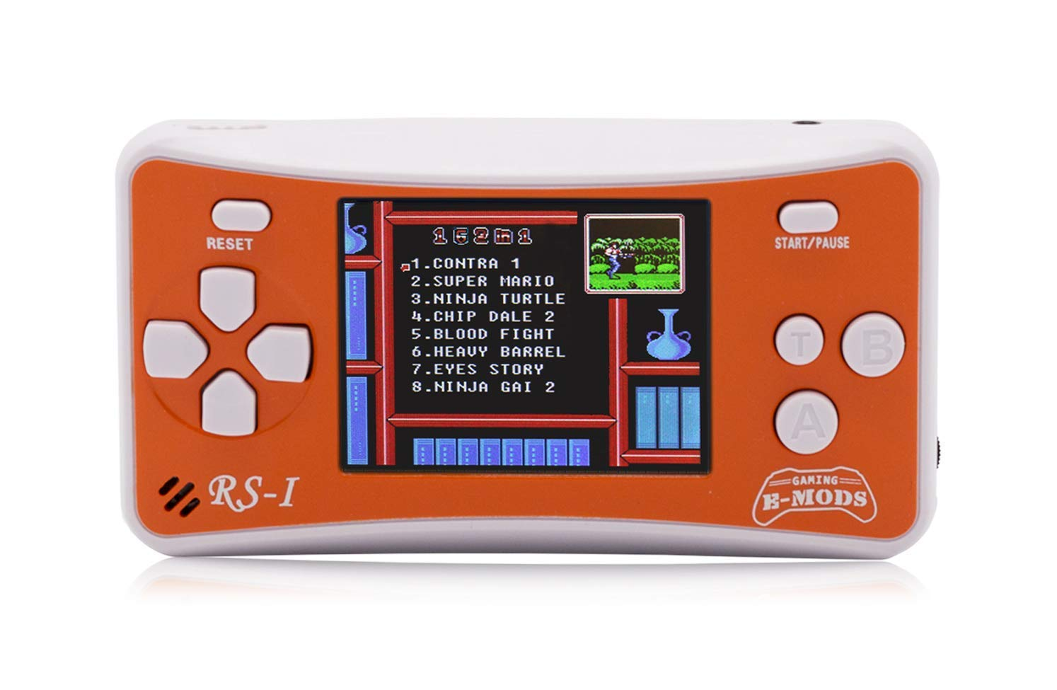 E-MODS GAMING 8-Bit Retro 2.5'' LCD 162x Video Games Portable Handheld Console (Orange)