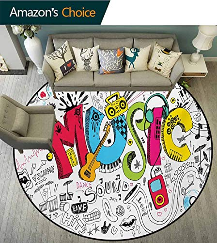 RUGSMAT Music Modern Simple Round Rug,Pop Art Featured Doodle Style Musical Background with Instruments Sound Art Illustration Pattern Round Area Rugs Thin,Round-63 Inch Multi
