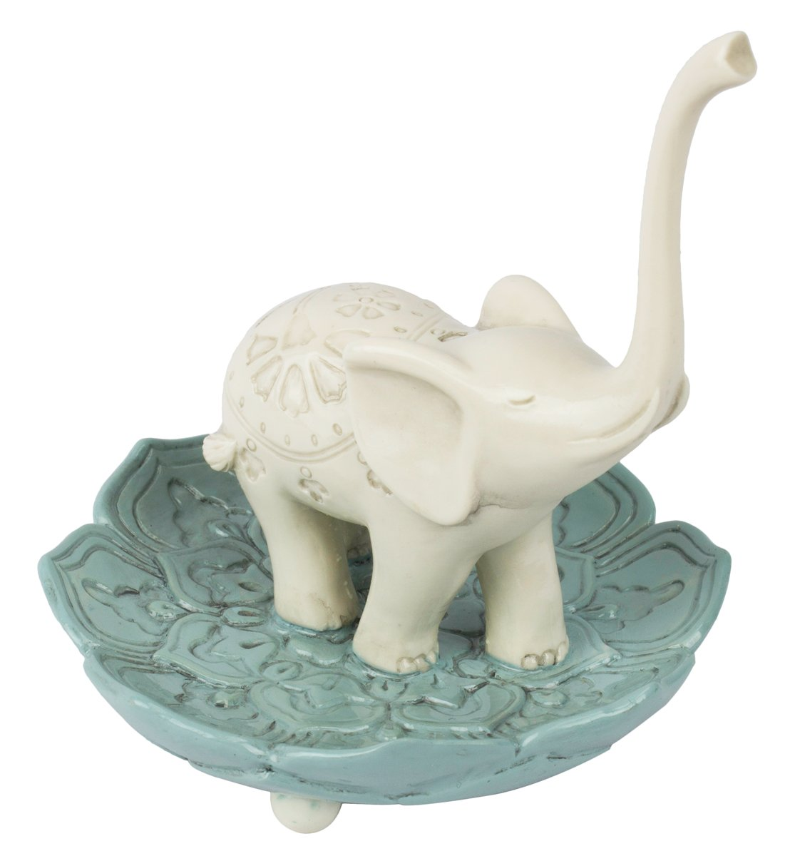 "Grasslands Road Resin Good Luck Elephant Jewelry Ring Holder, White / Teal, Medium, 3.5"" x 3.5"""