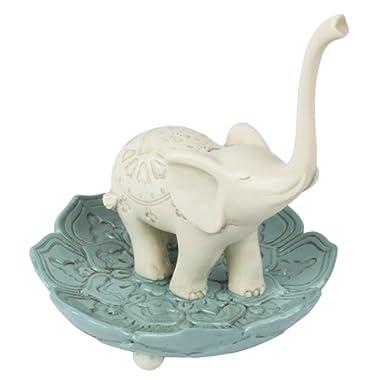 Grasslands Road 464005 Resin Good Luck Elephant Jewelry Ring Holder, White/Teal, Medium, 3.5  x 3.5
