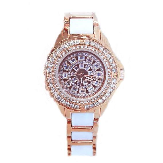 Pulsera con Diamantes de imitación para Mujer Reloj para Mujer Dial Redondo Aleación Correa de cerámica