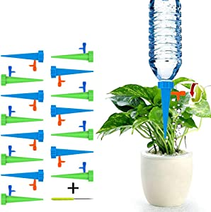 scsossw Self-Watering Spike 15 Pcs, Universal Plant Watering Devices - Automatic Vacation Drip Irrigation with Slow Release Control Switch Support for Outdoor Indoor Plants