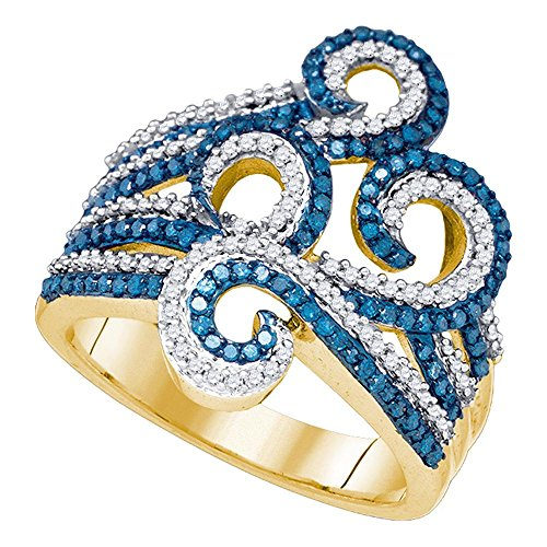 10kt Yellow Gold Womens Round Blue Color Enhanced Diamond Wide Swirl Curl Cocktail Ring 3/4 Cttw ()