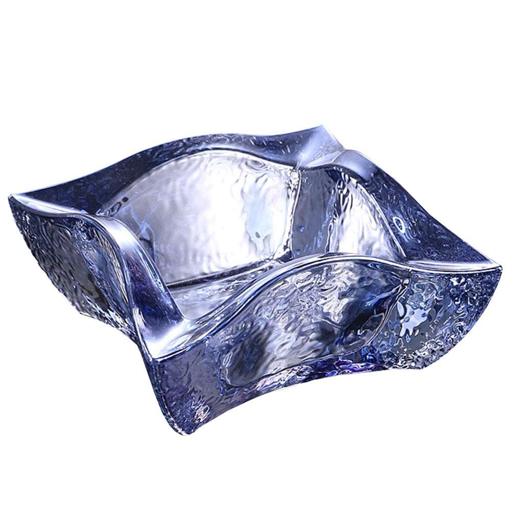 Fashion Transparent Glass Crystal Ashtray Creative Office Living Room Decoration Multifunctional Ashtray HENGXIAO (Color : Aqua-Blue, Size : 11.56.5cm)