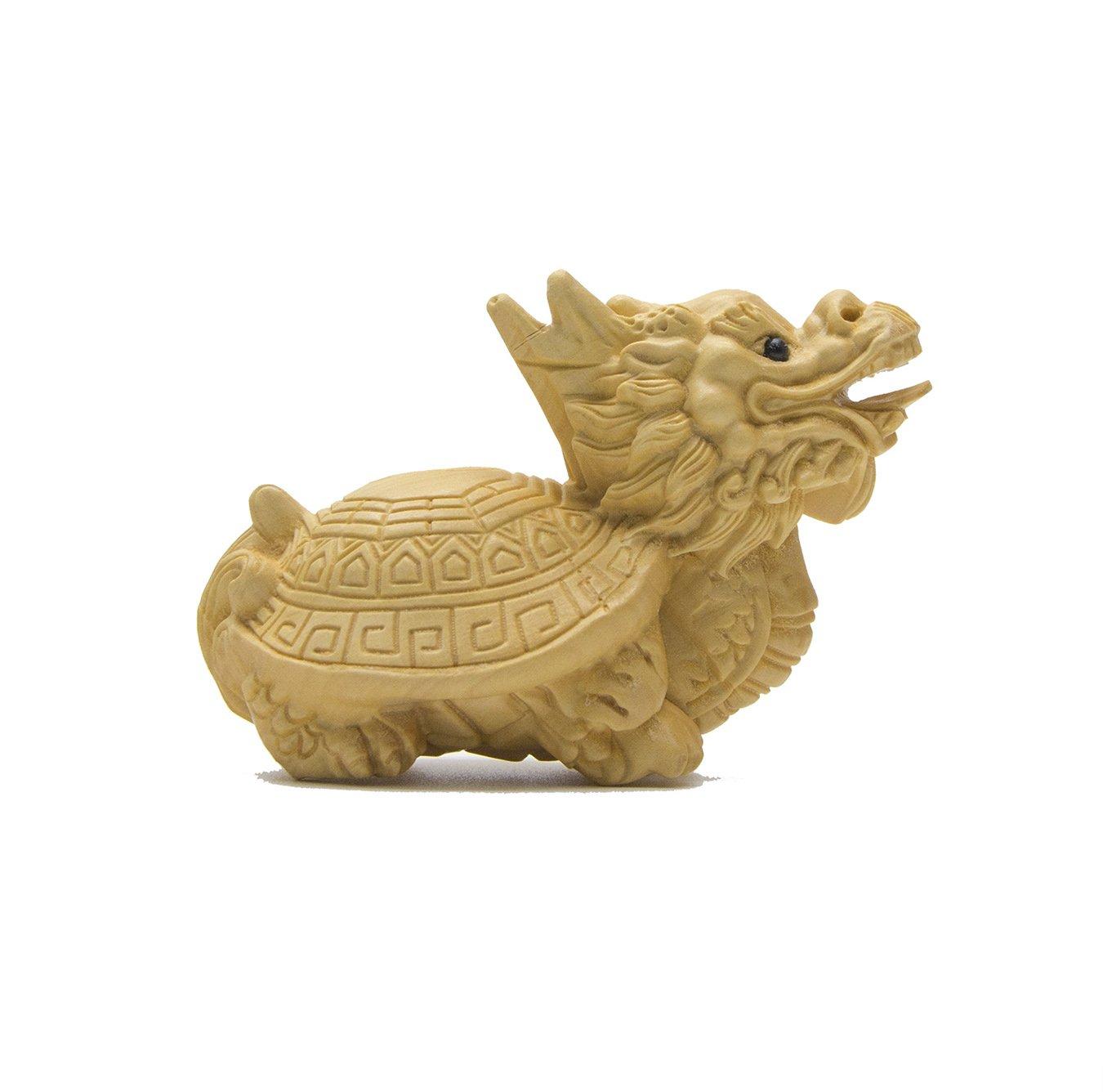 置物 インテリア 玄武 げんぶ ツゲ 黄楊 木彫り 木の置物 WOOD 天然木 ウッド 玄関 可愛い 雑貨 亀と龍の化身 中国 B072J8GBZ4