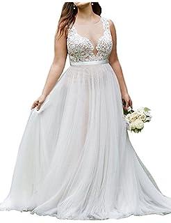d78994eb288e7 WeddingDazzle Plus Size Lace Beach Wedding Bridal Long Train Bride Dresses  for Women's