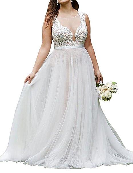 WeddingDazzle Plus Size Lace Beach Wedding Bridal Long Train ...