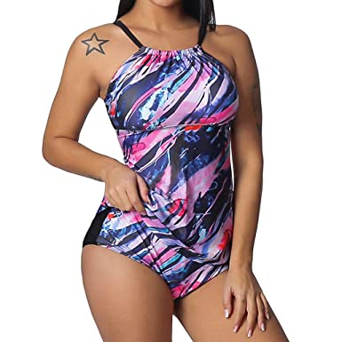 d3bd02b87c Amazon.com: Tummy Control Tankini Sets for Women,Jchen Ladies Colorful Striped  Print Plus Size Tops with Shorts Two Piece Bathing Suits: Clothing