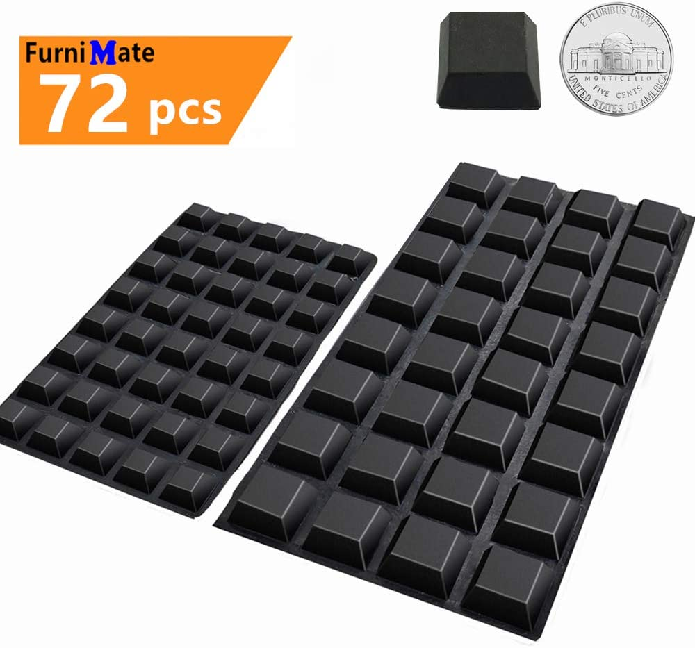 Black Rubber Feet 72PCS Self Adhesive Rubber Feet Black Bumper Pads Tall Square Bumpers for Electronics Speakers Computers Keyboard PS4 Chair Legs in a Case for Hardwood Floor and 20 Rubber Bumpers