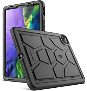 Poetic TurtleSkin Series Designed for Apple iPad Pro 11 2020 & 2018 Case, Heavy Duty Shockproof Kids Friendly Silicone Bumper Protective Case Cover, Black