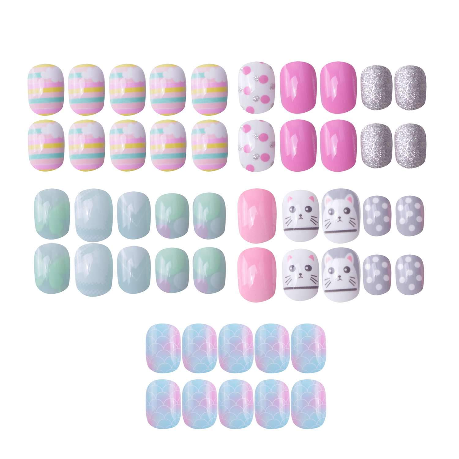 120 pcs 5 Pack Children Nails Press on Pre-glue Full Cover Short Blue Pink Gradient False Nail Kits Great Christmas Gift for Kids Little Girls by SIUSIO