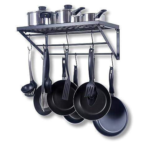 ZPOKA - Bandeja de Cocina, con 10 Ganchos en Forma de S, Metal, Negro, 602130 cm