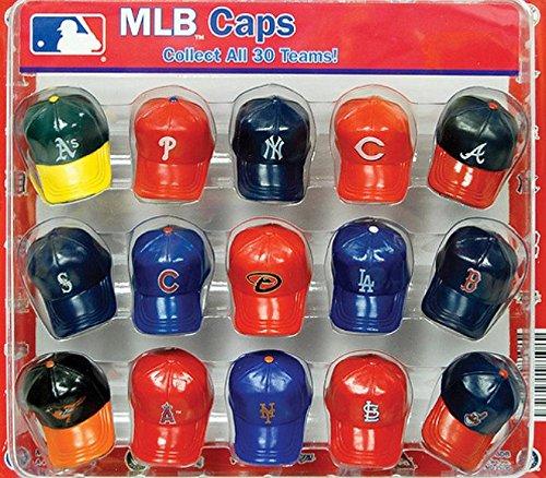 Official MLB Mini Baseball Team Logo Caps Collectibles Display - 15 Count Teams (Cap Giraffe Little Lollipop)