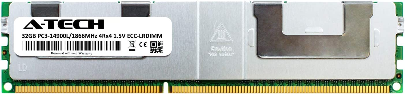 DDR3 ECC Load Reduced LR DIMM PC3-14900 1866Mhz 4rx4 1.5v Server Memory Ram A-Tech 32GB Module for SuperMicro X9DRFF-7G