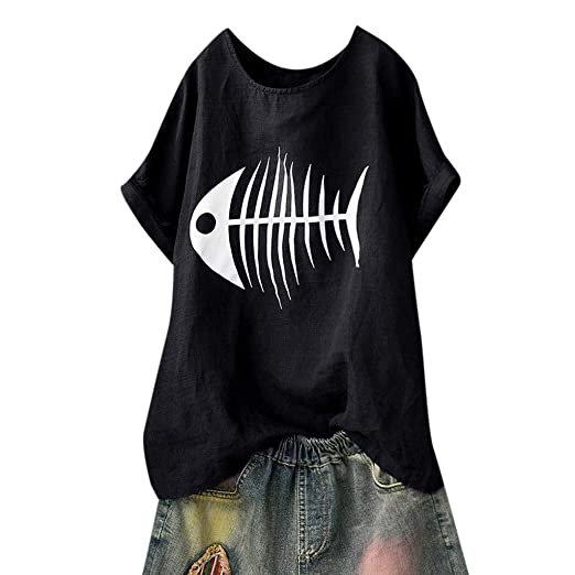 3fd9e07edc8 DAYPLAY Womens Tops and Blouses Casual Summer Fish Bone Print Loose Short Sleeve  Tee Shirt Funny