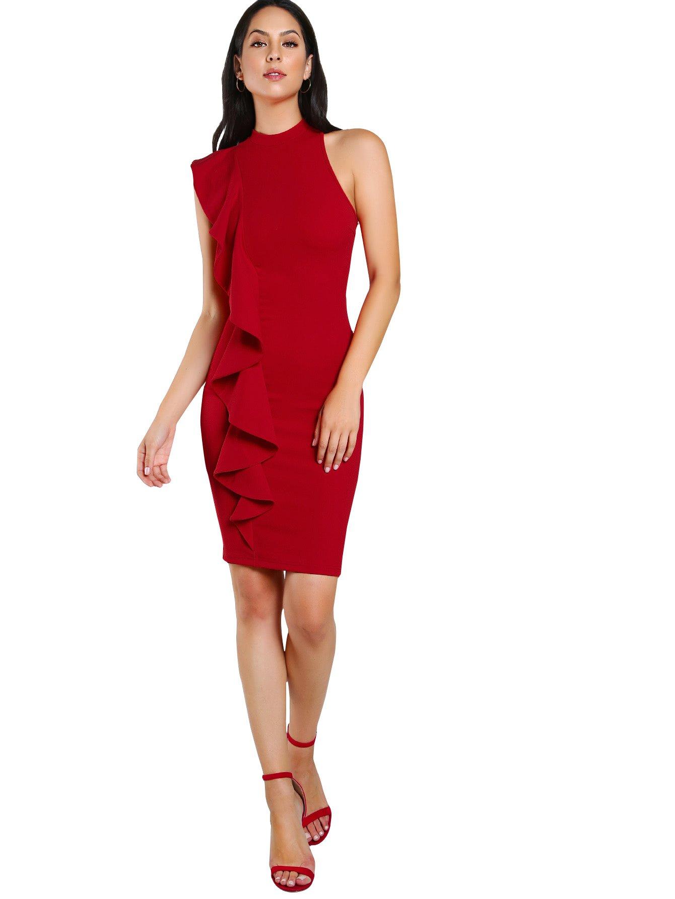 674863e5e52 Floerns Women s One Shoulder Side Sleeveless Ruffle Bodycon Dress Red L