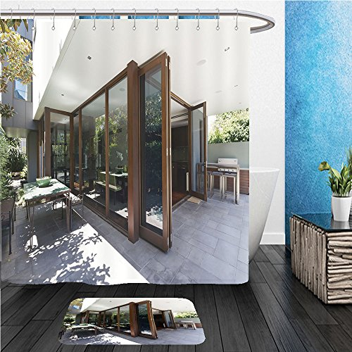 Beshowereb Bath Suit: ShowerCurtian & Doormat bi fold doors opening to rear courtyard of contemporary australian home - Opening Macys Times