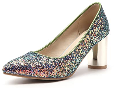 af78e3a3c66 SFNLD Women s Dressy Sequined Low Cut Pointed Toe Pumps Slip On High Block  Heels Antiskid Shoes