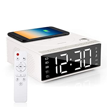 Htterino Wireless Charging Alarm Clock Bluetooth Speaker with Remote Control,FM Radio,USB Port,TF-Card,AUX-in,Snooze,LED Display,Hands-Free Calls and ...