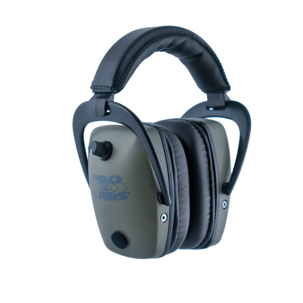 Pro Ears - Pro Tac Slim Gold - Military Grade Hearing Protection and Amplification - NRR 28 - Ear Muffs -  Lithium 123a Batteries - Green by Pro Ears