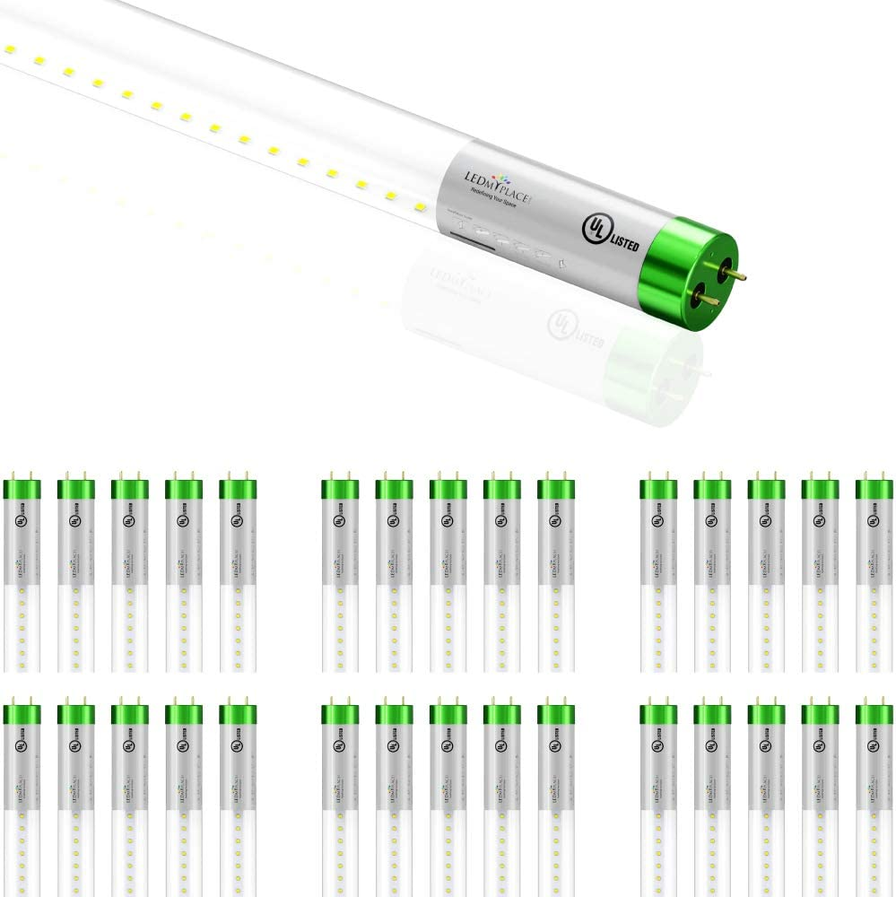 Works with A Ballast Only 5000K Clear Plug N Play 30-Pack Voltage-120-277 LEDMyplace T8 4ft 18W LED Tube Glass