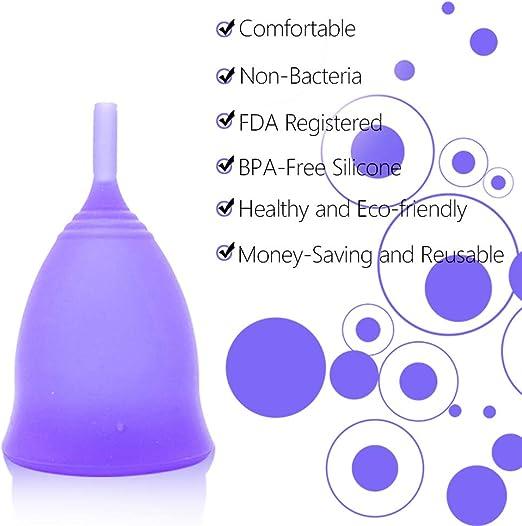 Lespar Copa Menstrual - Tapa Menstrual discreta e higiénica - Hecha de Silicona de Grado médico - higiénica, sostenible, antialérgica y Vegana